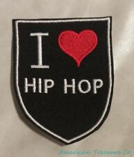 Embroidered Retro Vintage Style I Love Hip Hop Rap Music Black Patch Iron On USA