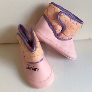 Sketchers Baby Girl Winter Pink Pram Shoe Boots Infant Size 2