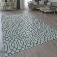 Modern Grey Rug Geometric Scandi Pattern Flat Weave Carpet Bedroom Floor Carpet