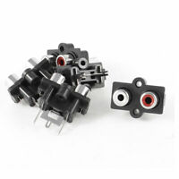 5 Pcs Audio Video Concentric RCA Socket 2 Female Jack Connector White Red