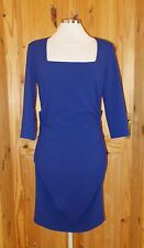 PHASE EIGHT cobalt sapphire blue stretch 3/4 sleeve square neck dress BNWT 12