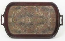 Antique Framed Tapestry In Glass Top Tray