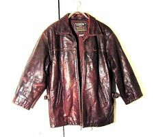 Vtg Distressed Brown Leather Insulated Oakwood Moto Jacket Side Buckles Sz M