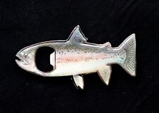 Lot of 2 Magnetic Beer Soda Bottle Opener Fisherman Rainbow Trout Magnet Gray