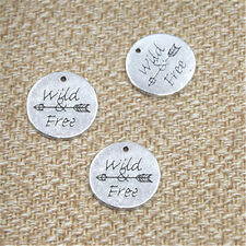 4pcs message Wild Free charms Antique silver tone Wild Free Arrow pendant 24mm