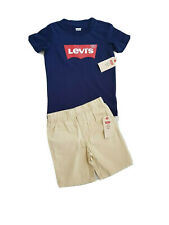 Levi's Boy 2PC Navy Blue T Shirt shorts Set Size 4 5 6 years NWT levi strauss