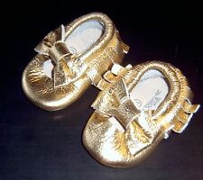 WILLOW AND JAG GOLD BABY GIRLS LEATHER CRIB SHOES BRAND NEW SZ 0 -3 MONTHS