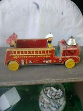 Looky Fire Truck #7 Fisher Price Vintage Wooden Push Toy 1950's