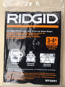 Ridgid High-Efficiency Size C Dust Collection Bags for 3 to 4.5 Gal VF3501 1 Bag