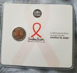 """2 Euros commémorative BU France """"Sidaction"""" colorisé"""