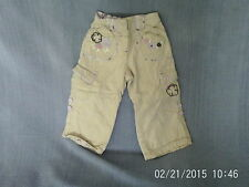 Baby Girls 18-24 Months - Beige/Blush Cargo Trousers/Roll-Ups, Floral Embroidery