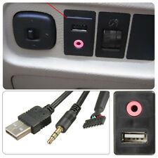 Car Dash AUX+USB Port Socket Headphone Adapter Chargable Panel Input Kit Wired