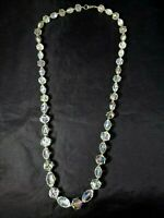 Vintage Aurora Borealis Clear Faceted Bead Necklace Iridescent Gold Tone Beads