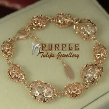 18CT Rose Gold GP Hollow-out Heart Bracelet Made With SWAROVSKI Crystal