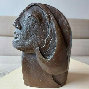 Bronze Cubist Sculpture after Pablo Picasso Woman's Head Signed Number