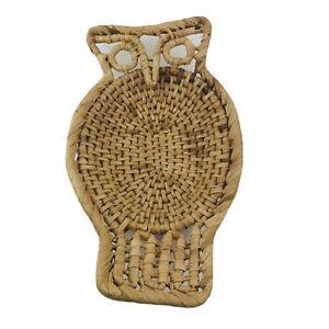 Vintage Woven Wicker Rattan Owl Basket Wall Hanging Trinket Tray Boho Folk