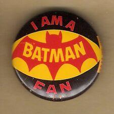 "Vintage Pinback Button Pin Badge 1966 Batman 1"" Collection  ""I Am A Batman Fan"""