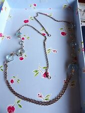 LONG CHAIN & AQUAMARINE COLOUREDLARGE BICONE TWIN STRAND FOCAL NECKLACE 76-117