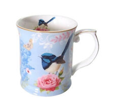 Divine Fine Bone China Blue Wren Coffee Tea Cup Mug Australian Bird Series