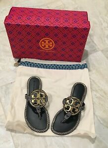 TORY BURCH NIB BLK & WHITE SPOTTED SNAKE LEATHER MILLER SANDLE GOLD METAL SIZE 5