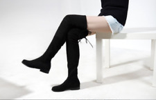 Womens Cow Leather Over Knee High Flat Boots Slim Leg Thigh High Booties Shoes