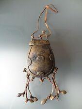 ancienne gourde en bronze cire perdue afrique sac chaman art africain ethnique