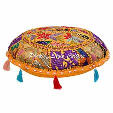 """Indian Ethnic POUF COVER Footstool 18"""" Patchwork Embroidered ROUND FLOOR CUSHION"""