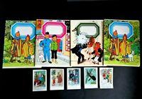 4 cahiers + 5 Chromos TINTIN Hergé an'70 offert chocolat cote d'or et Casterman