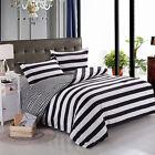 Single/Double/Queen Bed Quilt Doona Duvet Cover Set Pillow Cases Black Stripes