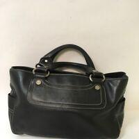 Vintage Celine Black Leather BOOGIE Satchel Handbag