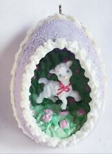 "1994 Hallmark Easter ""Sweet as Sugar"" Lavender Diorama Egg with Lamb Ornament"