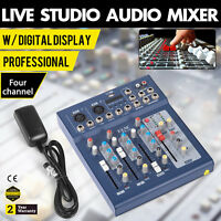 Mini Professional 4 Channel Live Studio Audio Mixer USB Mixing Console KTV 48V