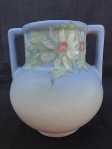 Weller Pottery 1920s Twin-Handled Hudson Floral Vase Artist Signed Pink & Blue