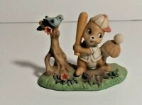 """Vintage Forest Friends""""Little Pro"""" Baseball-Playing Squirrel Napcoware Figurine"""