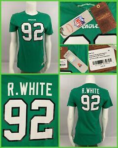 Women's REGGIE WHITE Green Philadelphia Eagles Jersey Style TShirt Mitchell Ness