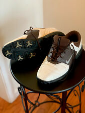 Mens 9.5 Nike Golf Size 9 1/2 Golf Shoes. Brown And White.
