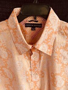 Vintage Tommy Hilfiger Mens XXL Orange Paisley Button Down Shirt