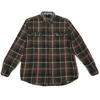 George Flannel Shirt Mens Sz L Large Green Plaid Long Sleeve Button Front Cotton