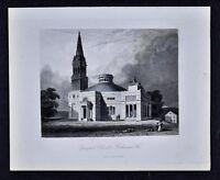 1852 Walker Antique Print - Episcopal Church Richmond Virginia Architecture VA