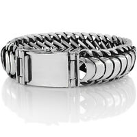 Men's Biker Heavy Wide Bracelet Solid 925 Sterling Silver Size 18 to 28