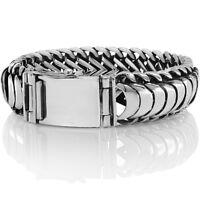 Men's Biker Heavy Wide Bracelet Solid 925 Sterling Silver Size 18 to 28