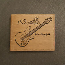 Electric Guitar Love for Music Wallet Laser Engraved