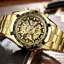 Luxury Golden Stainless Steel Automatic Mechanical Skeleton Men Wristwatch Gifts
