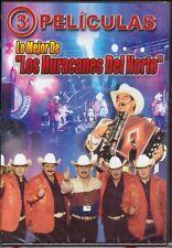 LO MEJOR DE LOS HURACANES DEL NORTE, 3 PELICULAS DVD, MEXICO GRUPO NORTENO