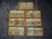 lot 7 vues photo stereo ROYAT MONT-DORE XIXe - cartes stéréoscopiques albuminées