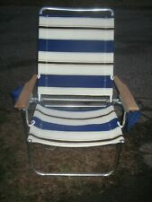Vintage Aluminum Fabric/Canvas Lawn Chair Wood Arms Accessory Pockets