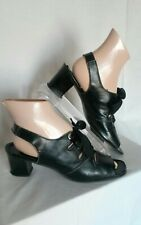 "Vtg 1960 1970 Heel 10N Sandal Lace Sling Black Leather Retro ""Miss Wonderful"""