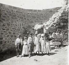 Biskra Algérie Groupe d'enfants Plaque de verre stéréo Vintage ca 1920