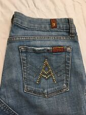 7 Seven For All Mankind A Pocket Jeans Size 27 Flare Distressed Stretch Denim
