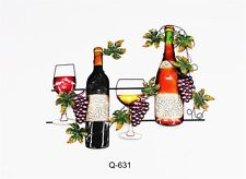 Metal Wall Art Decor Picture - Wine Bottles with Glasses